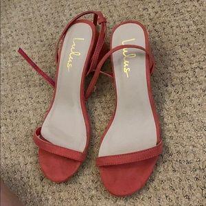 Julie Coral Rose Suede Ankle Strap Heels